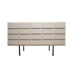 Meuble ilot moderniste en bois laqué de 20x tiroirs
