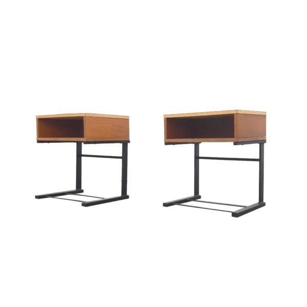 2x Tables de Nuit Métal et Formica, 1960s
