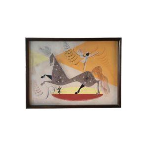 """Tableau """"Cirque"""" Gouache sur Papier, 1948"""