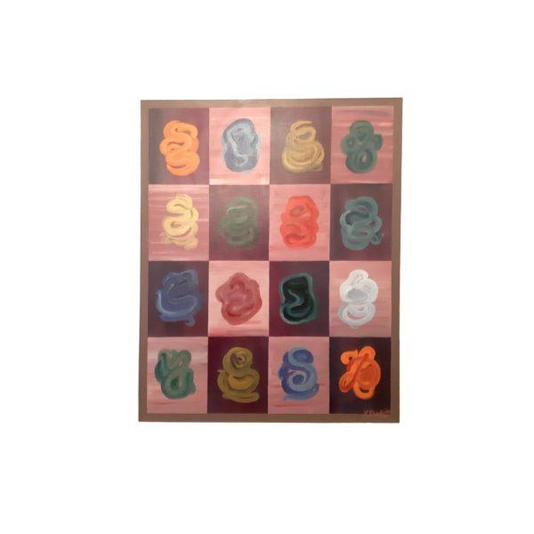 Peinture Abstraite H. Desplenter Huile sur Toile ,1975