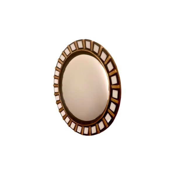 Miroir Rond de Courtoisie en Céramique , 1950s