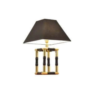 Lampe de table imitation bambou en bois noirci et laiton