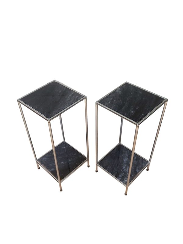 Tables de Chevet Marbre et Chrome, 1970s