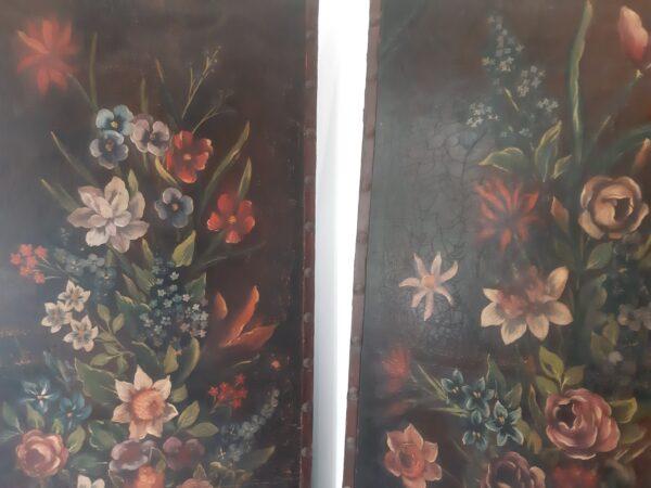Panneaux Architecture Florale sur Cuir, 1930s