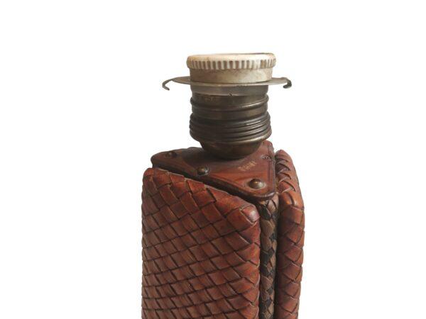 Lampe Cuir Tressé Style Adnet, 1930s