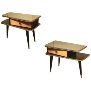 Tables de Chevet Bicolore en Bois, 1950s