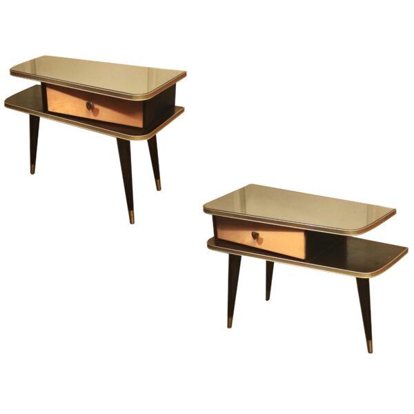 Tables de Chevet Bicolore en Bois, 1950s